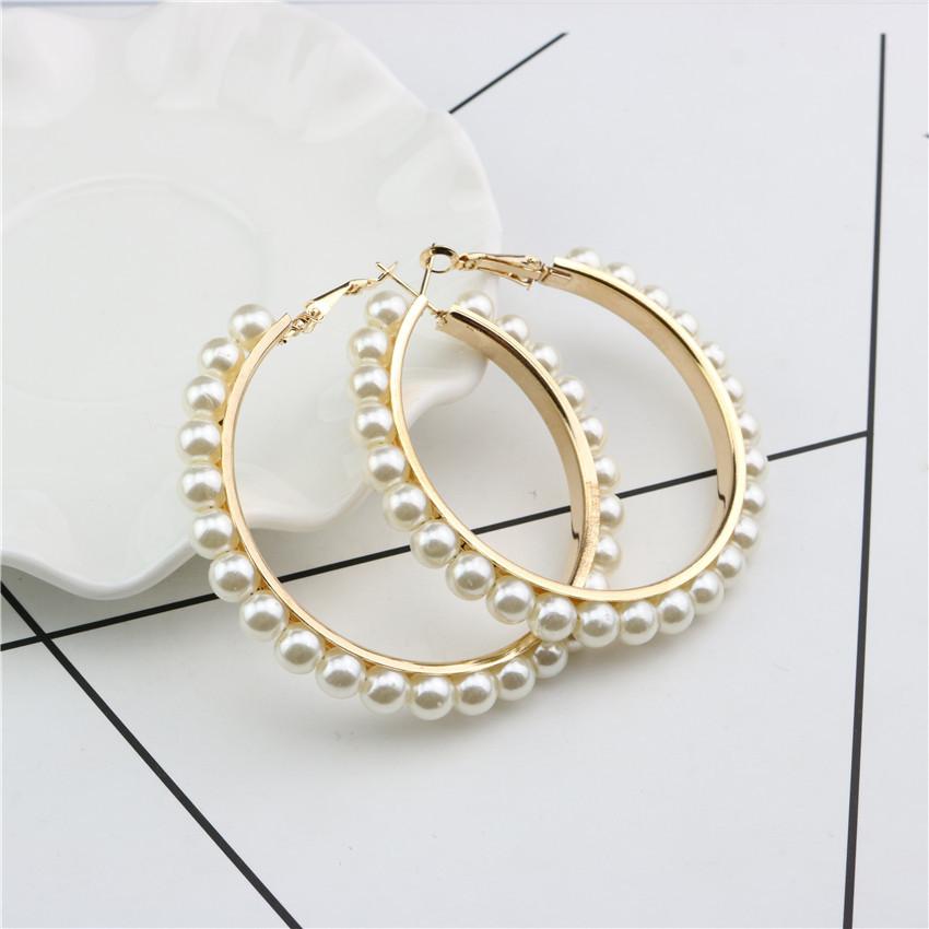 Erklärung 18 karat Gold Überzogene Perle Ohrring Perle Gepflastert Große Runde Kreis Hoop Ohrring