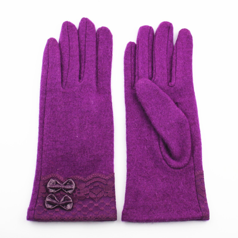 Purple girls sweet woolen gloves fashion lace bow wool gloves for iphone