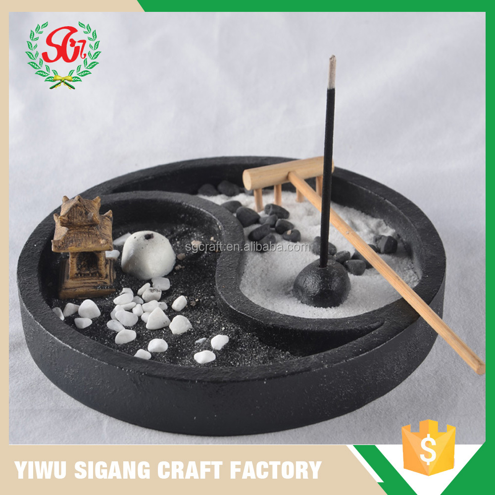 SGY Round Bagua Shape Tray Zen Garden WIth Incense