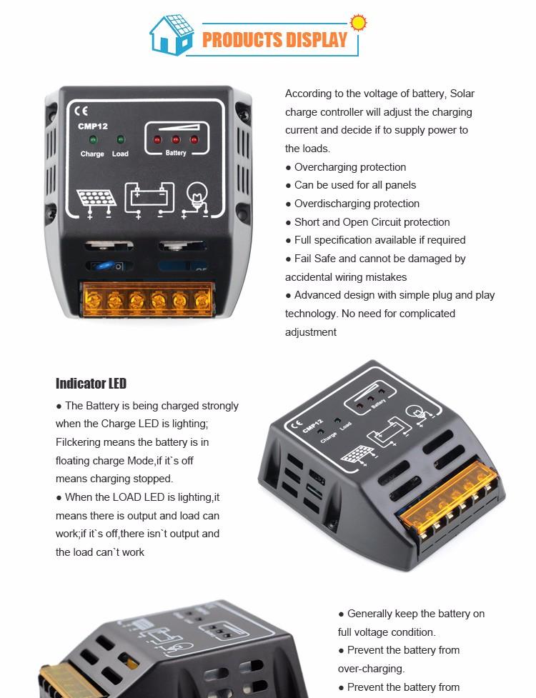 Cmp12 10a Solar Charge Controller 12 24v Solar Panel