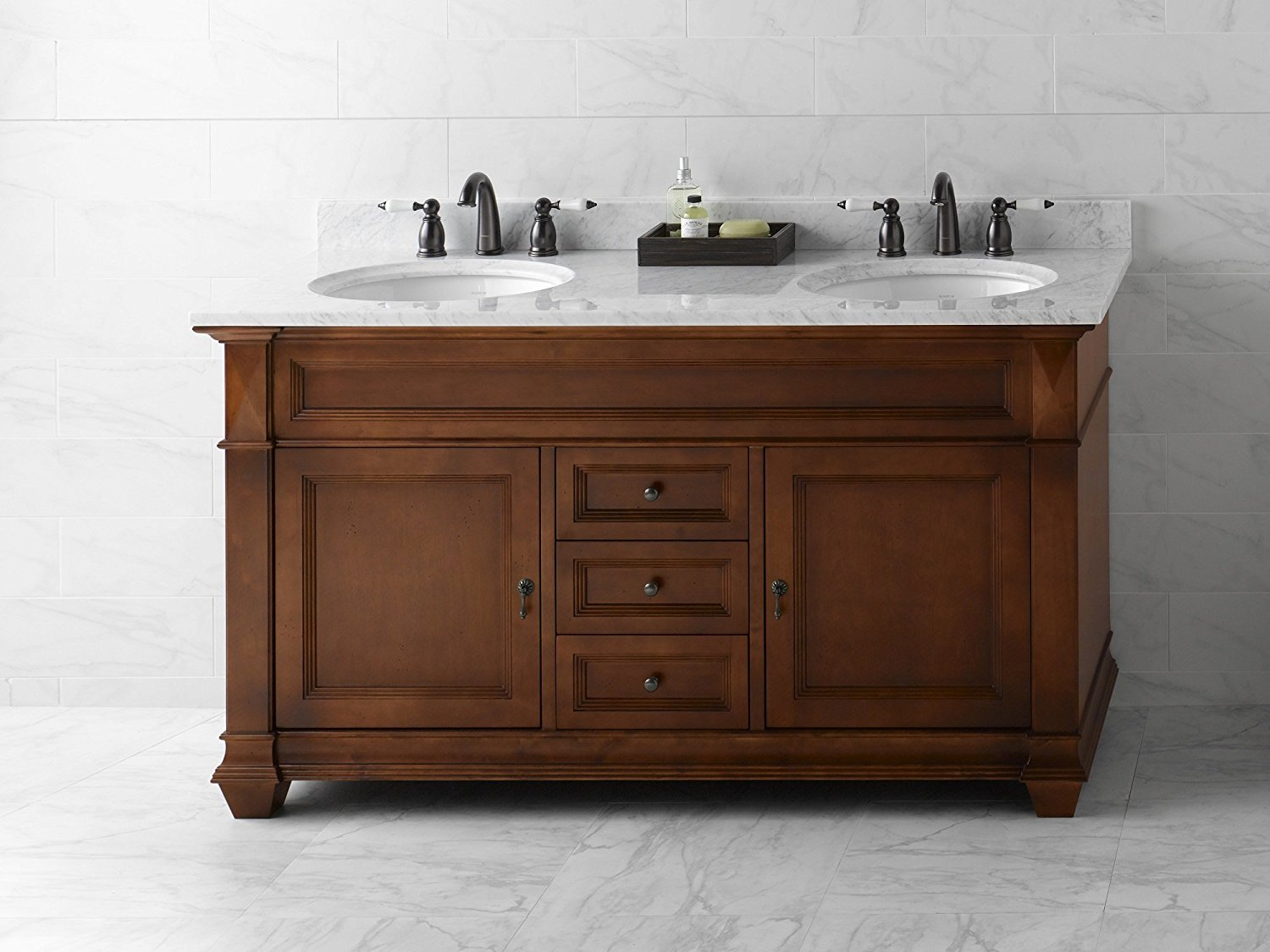 Get Quotations · RONBOW Torino 60 Inch Bathroom Double Vanity Base Cabinet  With Soft Close Wood Door, Cabinet
