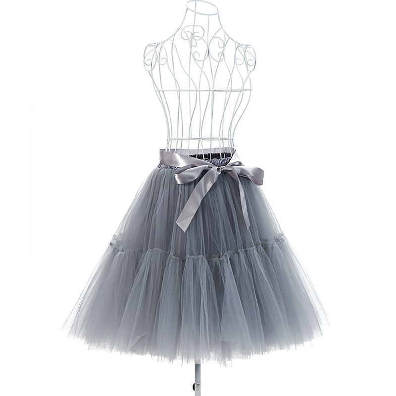 Women's A Line Short Knee Length Prom Party Tulle Midi Tutu Skirt