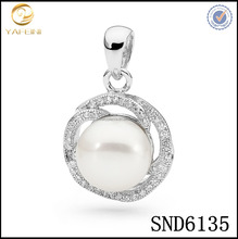 Wholesale diamond pendant mountings for fresheater pearl,cute anniversary necklace gift for girlfriend