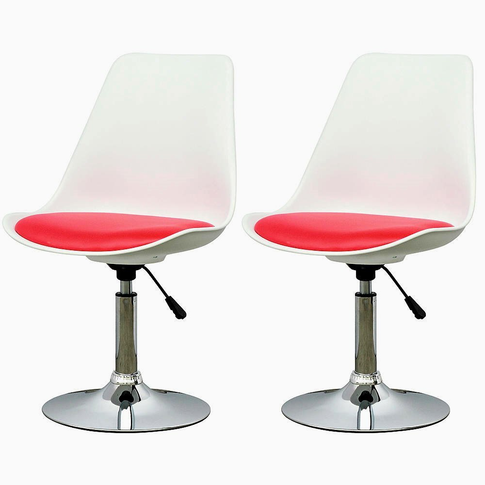 Bar Stools. White Adjustable Chair with Red Leatherette Seat. Set Of 2. Chrome Gas Lift And Chrome Support. Contemporary Ultra-padded Design. Modern Decor Setting.