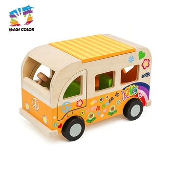 New arrival educational wooden yellow school bus toy for kids W04A418