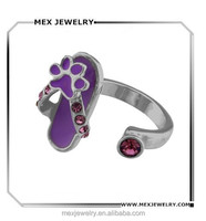 Cute Purple Enamel Slippers Shose and Paw Flip Flop Ring With Ruby Stones