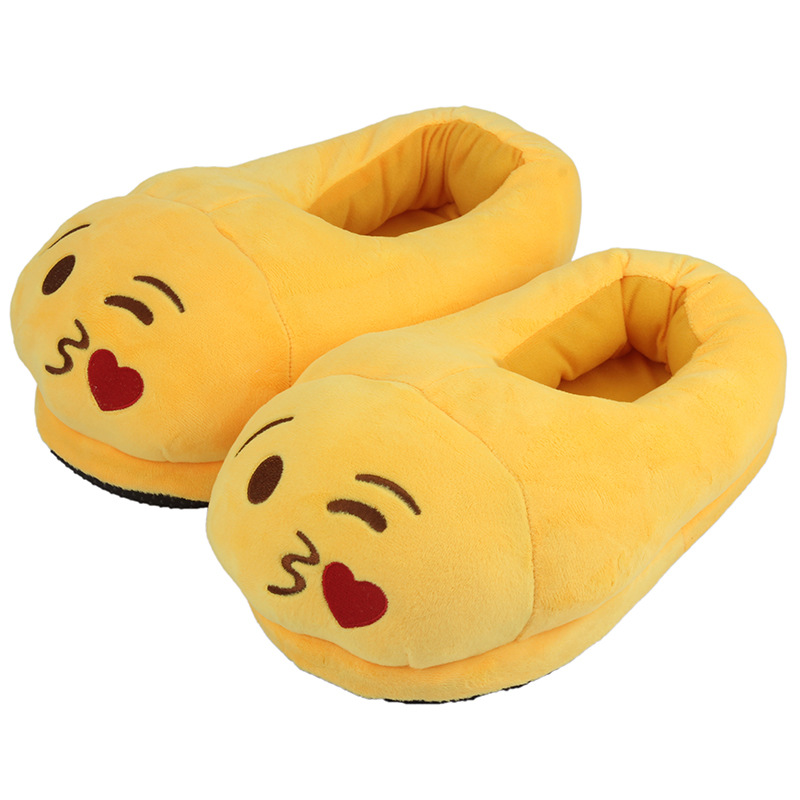 Emoji Throwing Kiss Plush Slippers Creative Expression Velvet Shoes