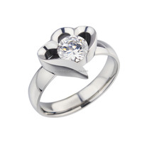 R-069 Female Stainless Steel Diamond Engagemetn Rings for Forever Love Symble Jewelry