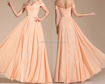 Peach Chiffon Bridesmaid Dresses Long 2018 Wedding Party Dress