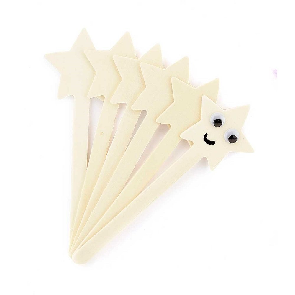 Hygloss Natural Wood Popsicle Sticks - 6.25 Inches Art & Craft Sticks - Star Shape, 6 Pcs