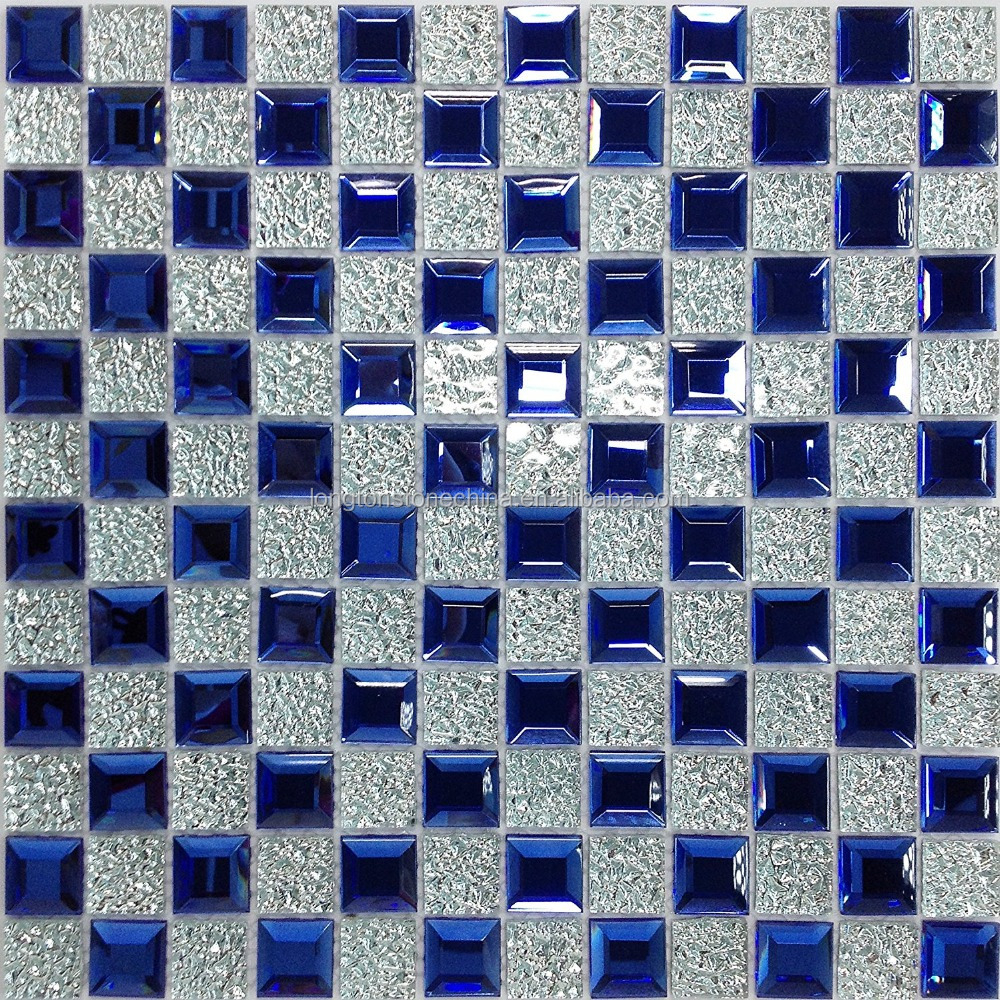 Ocean Blue Silver Edging Mirror Tile 3d Crystal Glass Strip Mosaic ...