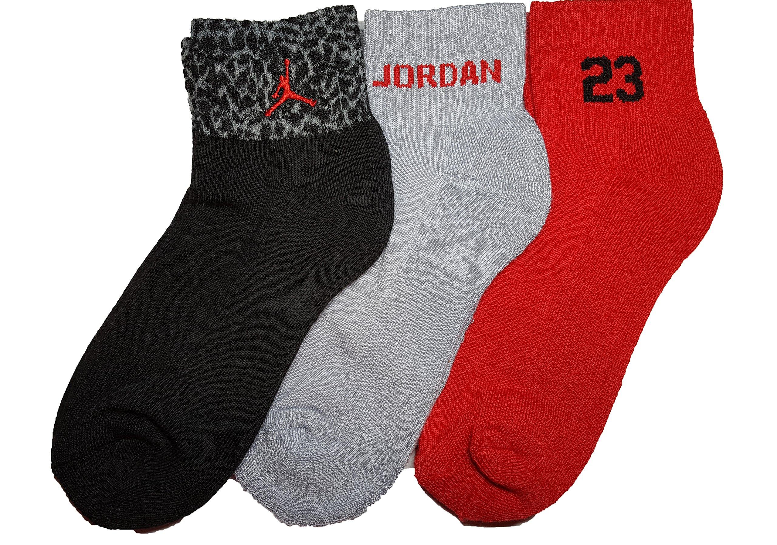 Nike Air Jordan Boys Elephant Print 3 Pr/P Quarter Socks Size 5Y-7Y/9-11