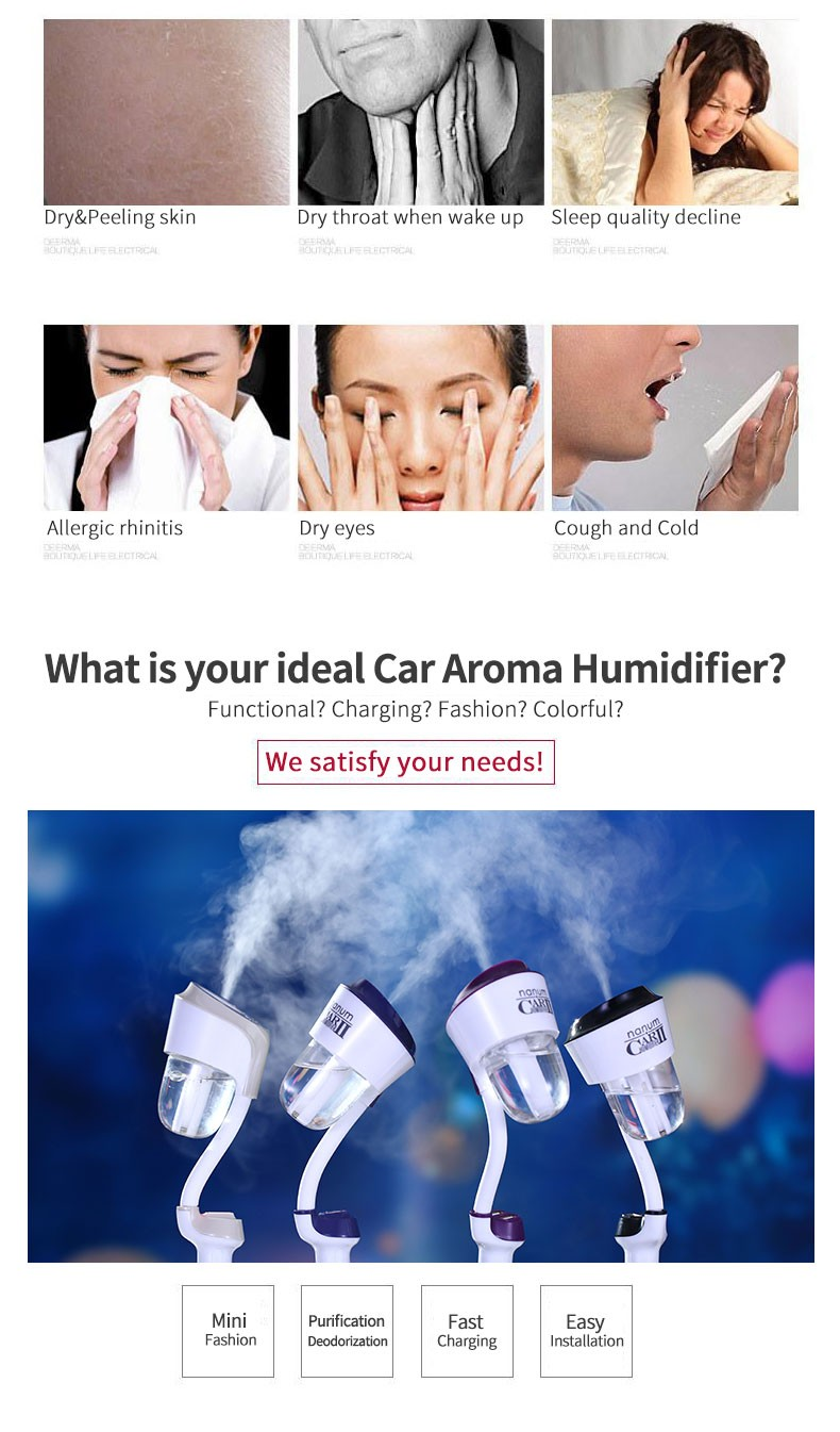 mini humidifier Diffuser Ultrasonic Car Aroma Diffuser Cool Mist Ultrasonic Humidifier