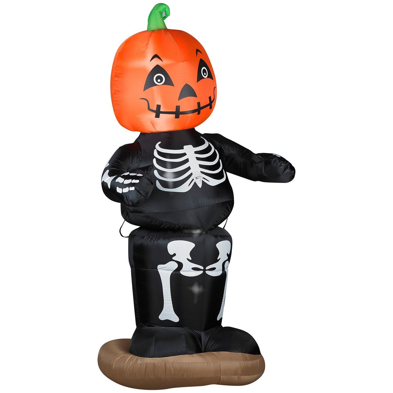 buy halloween inflatables: eerie dancing pumpkin boy skeleton as