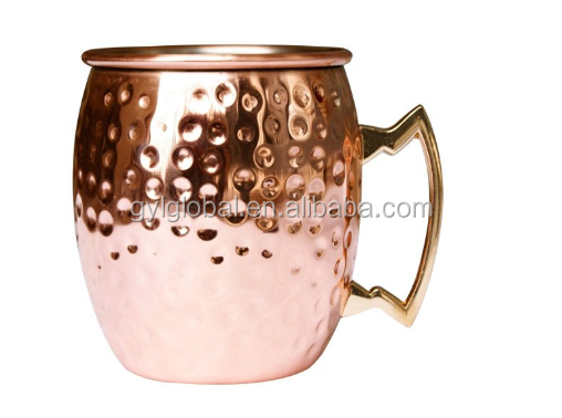 Mule Copper Barrel Mug 16 oz. - Pure Hammered Solid Copper Barrel Mug, Handmade with solid Brass Handle. NO inner lining and tar