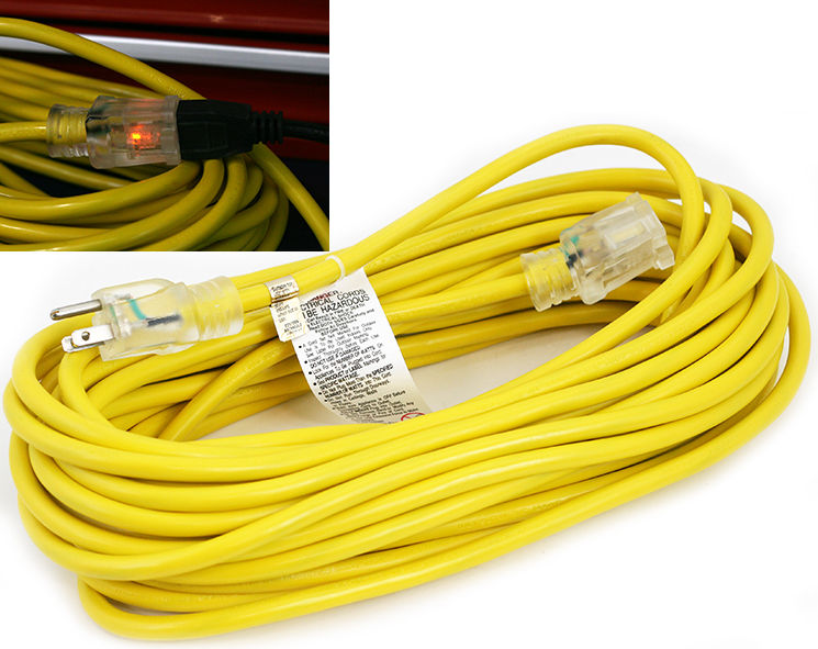 UL 12/3 Heavy Duty SJTW Contractor Extension Cord with Lighted Ends, 25-Feet