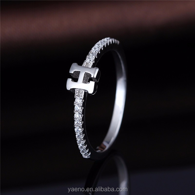 96e7a6f4dee19 925 Silver Letter H Customized Ring Alphabet Initial Ring