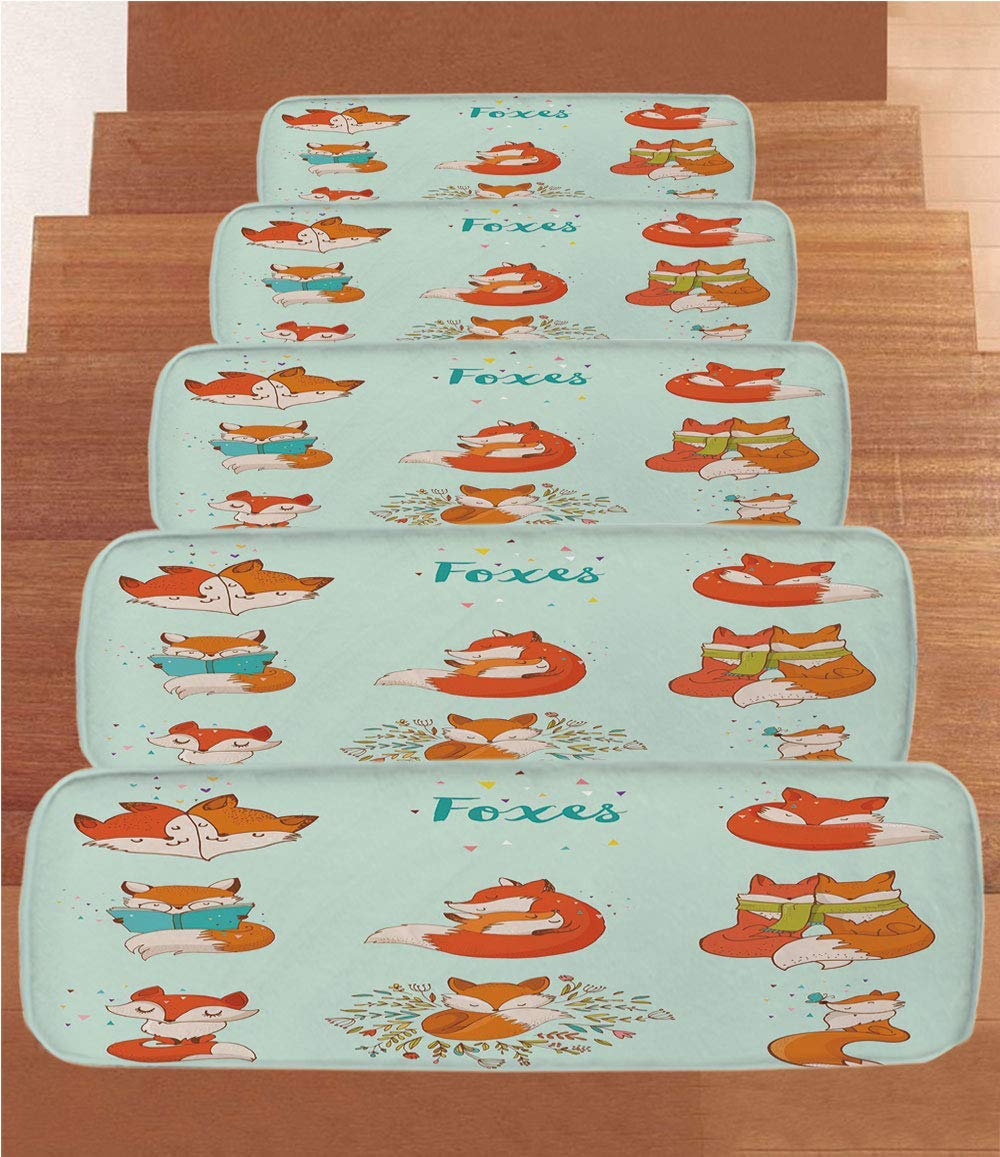 """iPrint Non-Slip Carpets Stair Treads,Fox,Lovely Fox Characters Sleeping Reading Romantic Couple Nature Collection Kids Comic Decorative,Multicolor,(Set of 5) 8.6""""x27.5"""""""