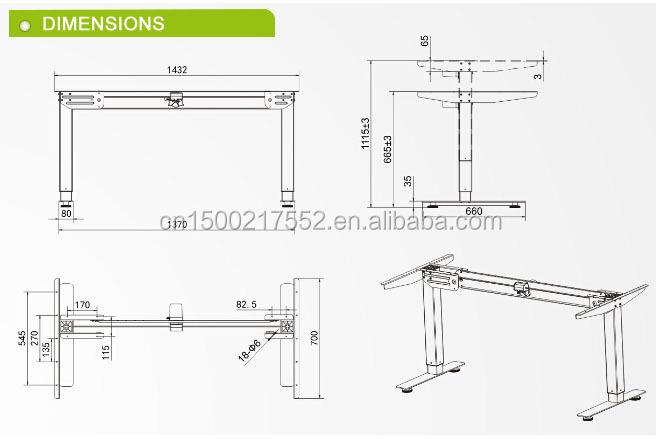 Muebles de oficina de hank manivela base de mesa de