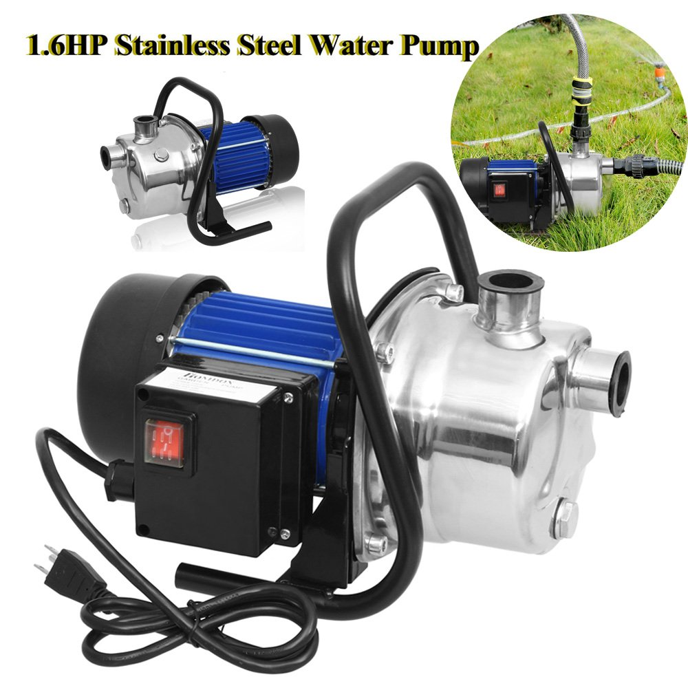 1.6HP Stainless Steel Water Pump Shallow Well Pump Electric Home Garden Lawn Sprinkling Booster Pump Transfer (US Stock) (1.6HP)