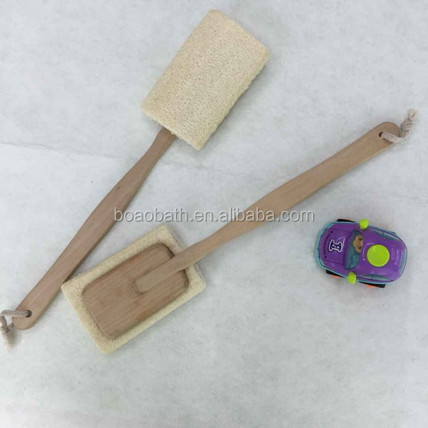 Natural Luffa Exfoliating Back Strap Scrubber Wooden Handle Massager