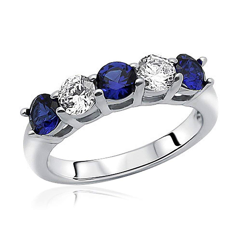 Sterling Silver Rhodium Plated Ring Simulated Blue Sapphire CZ Five Stone Band Stackable Ring