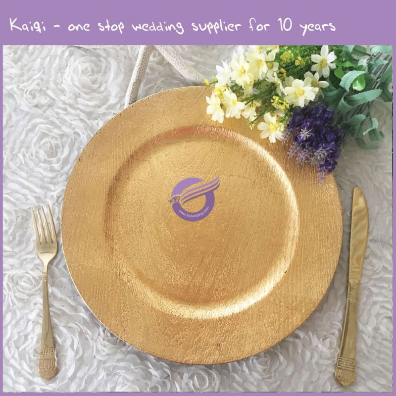 PZ26110 High Quality Gold Plastic Plates Serving Dishes for Wedding Hotel