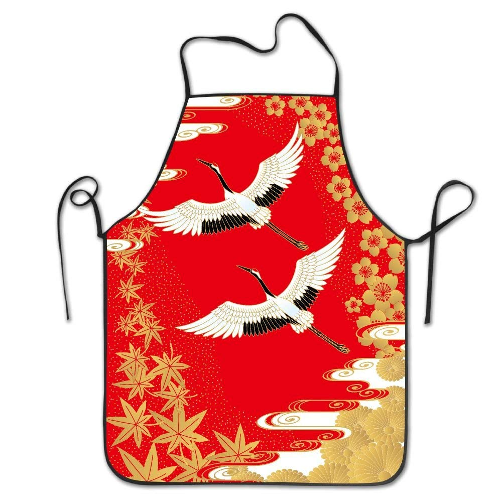 RZ GMSC Novelty Japanese Cranes Floral Unisex Kitchen Chef Apron - Chef Apron For Cooking,Baking,Crafting,Gardening And BBQ