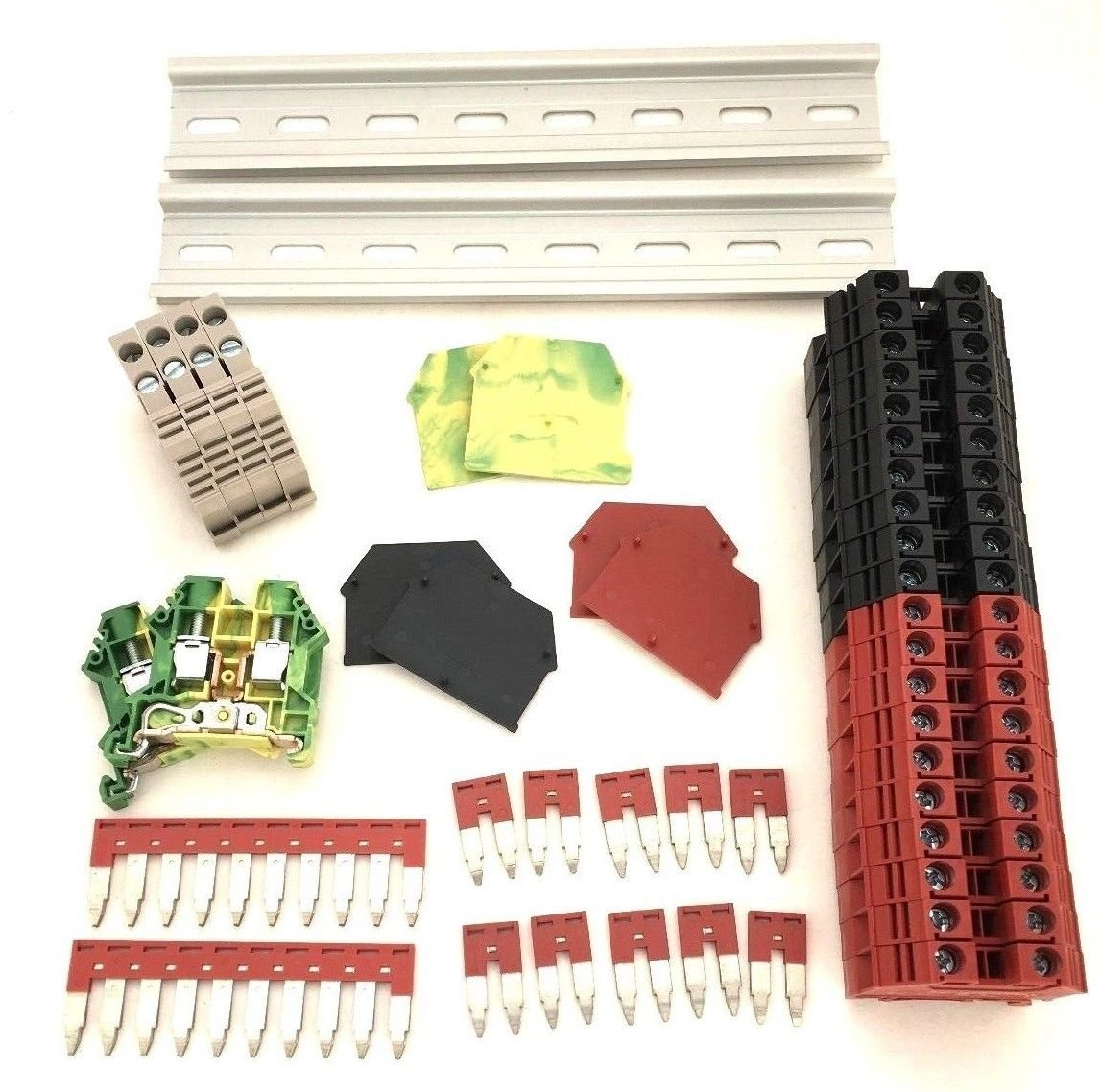 Red/Black DIN Rail Terminal Block Kit Dinkle 20 DK6N 8 AWG Gauge 50A 600V Ground DK6N-PE Jumper DSS6N-02P DSS6N-10P End Covers End Brackets