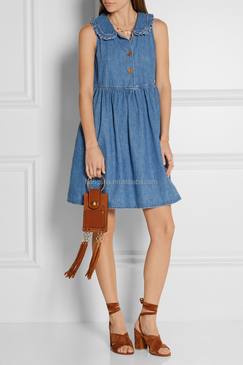 New Model Casual Ruffle-trimmed Chambray Denim Fabric Mini Dress ...