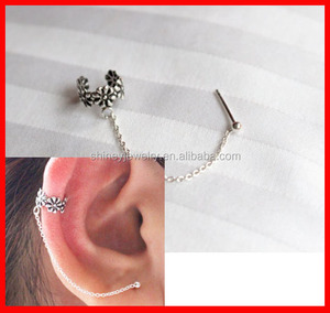 925 sterling silver oxidized finish women girl fashion silver flower chain cuff earring