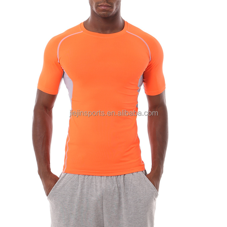 Heren cool dri fit compressie baselayer korte t shirts stretch afslanken body shaper top shirt