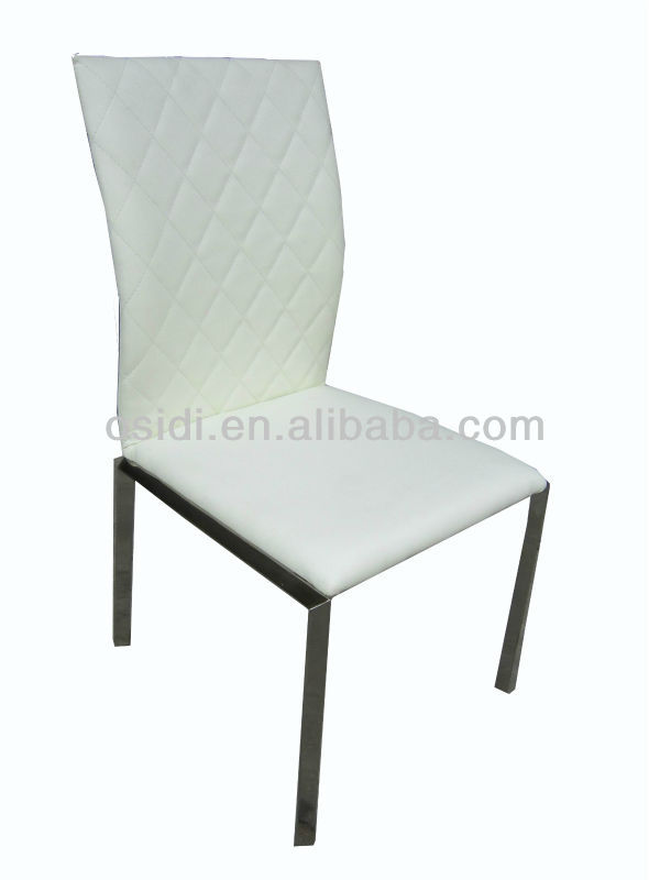 Modern stainless steel white leather dining chair