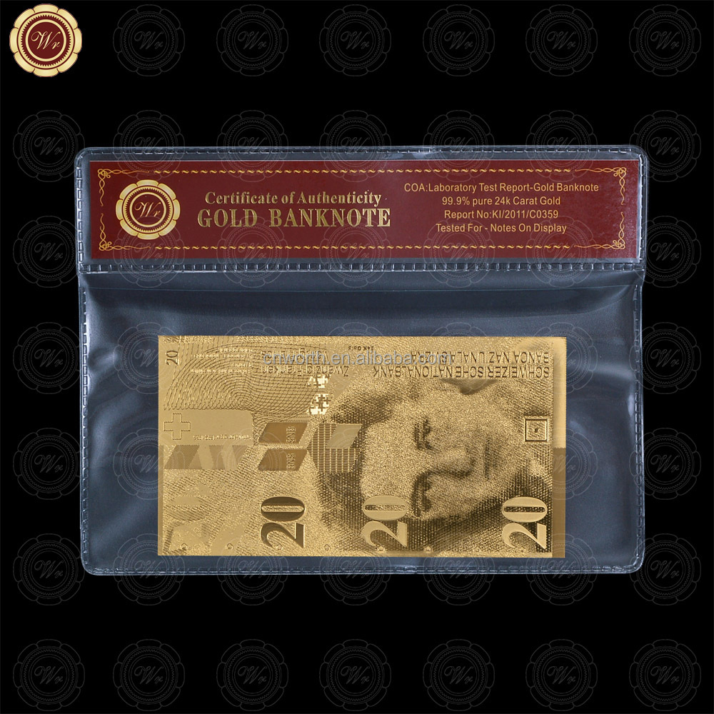 Wr 24k Gold Foil Switzerland Banknote Quality 20 Franc Paper Money with PVC Frame