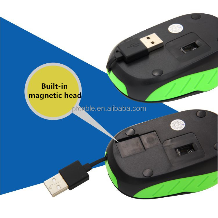 Mini Retractable Cable USB Scroll Wired Optical Gaming Mice Mouse for Laptop Desktop Gamer Home Office Use Computer Accessories