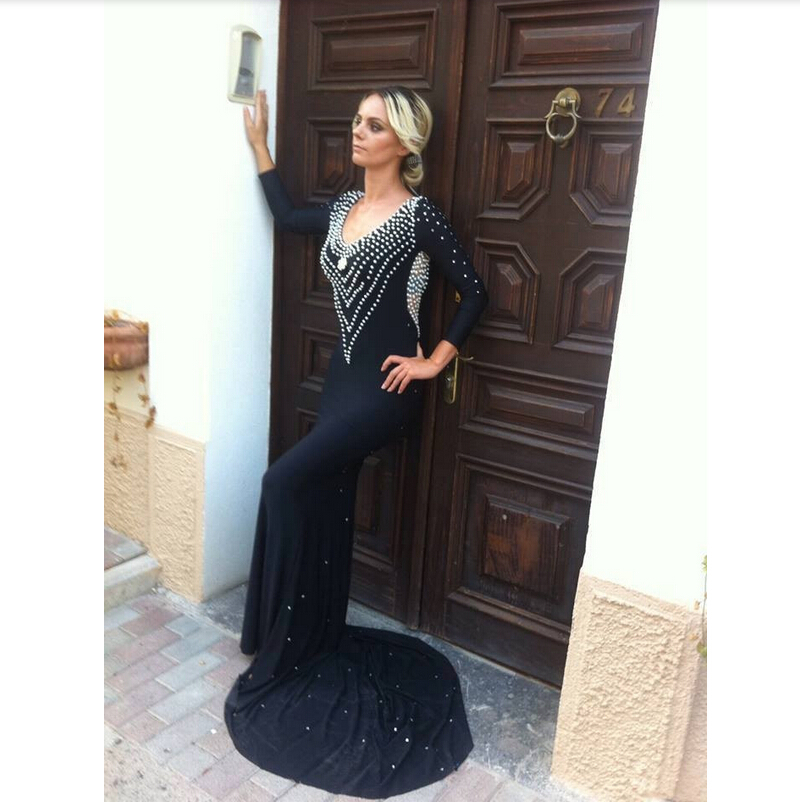 4fba056771 Get Quotations · Latest Sheath V-Neck Jersey Long Sleeve Backless Black  Evening Dress Dotted With Pearls 2015