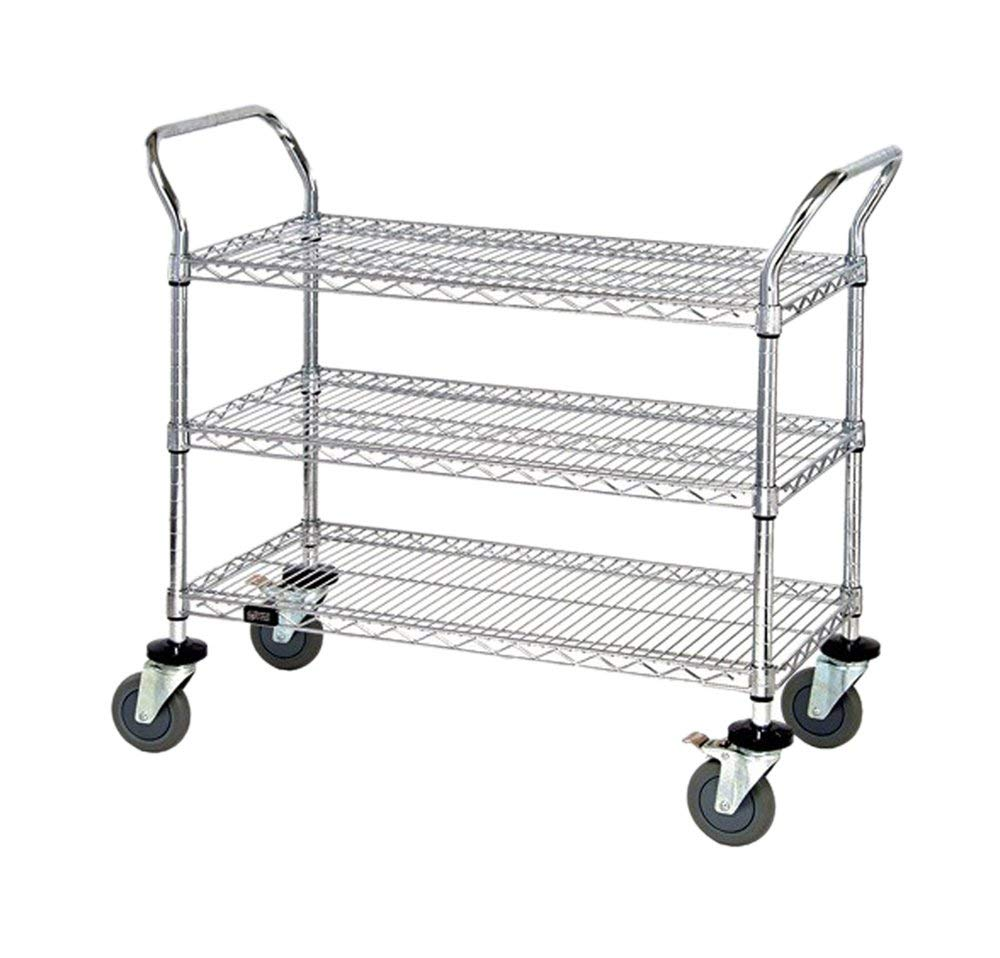 "Quantum 3 Wire Shelf Mobile Utility Cart Chrome 24""""W x 36""""L x 37-1/2""""H , Automotive, tool & industrial , Office maintenance, janitorial & lunchroom , Carts , Service/utility"