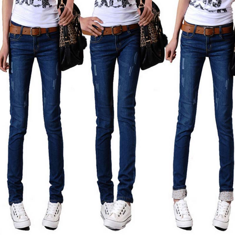 W18137 women cheap ripped wore sexy jeans with or without plush women jeans