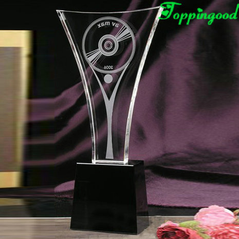 Black Base CD Style Crystal Trophy For Children Competition Awards