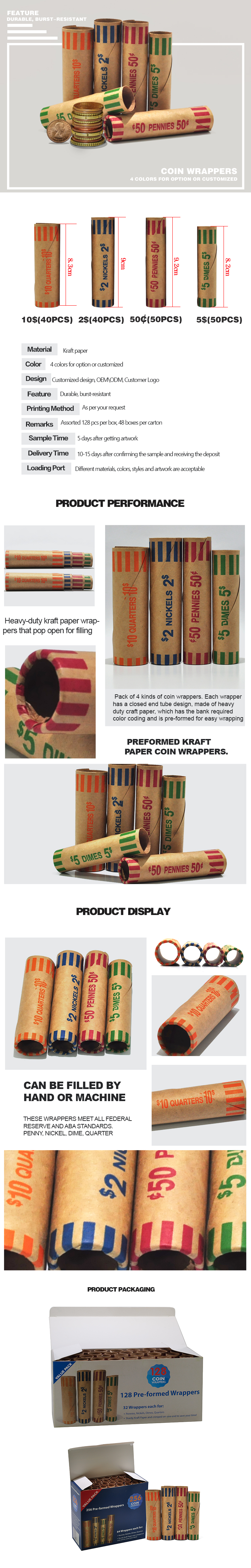 OEM or ODM 4 colors kraft paper preformed coin roll wrappers for individual use