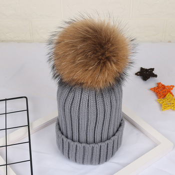 Wholesale large raccoon fur ball baby knit hat knit beanie cap womans winter hats with pom poms