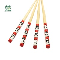 High quality round shape nonslip craft 24cm family use recycled red color print reusable bamboo chopsticks