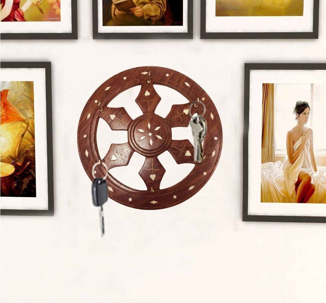 7 Inch Handmade Wooden Key Holder Wheel Shape, Wooden Key Holder with 6 Hooks, Key Organizer Wall, Decorative Key Holder for Home & Office, Easter Day / Mother day / Good Friday Gift