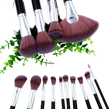 2018 Cosmetics Material Tools Brush 14pcs Piano Black Handle with Coffee Blush Hair