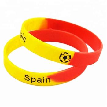 b3a574ea9ecc 50 unids lote logotipo impreso pulsera españa francia Brasil y Portugal  equipo de fútbol pulsera