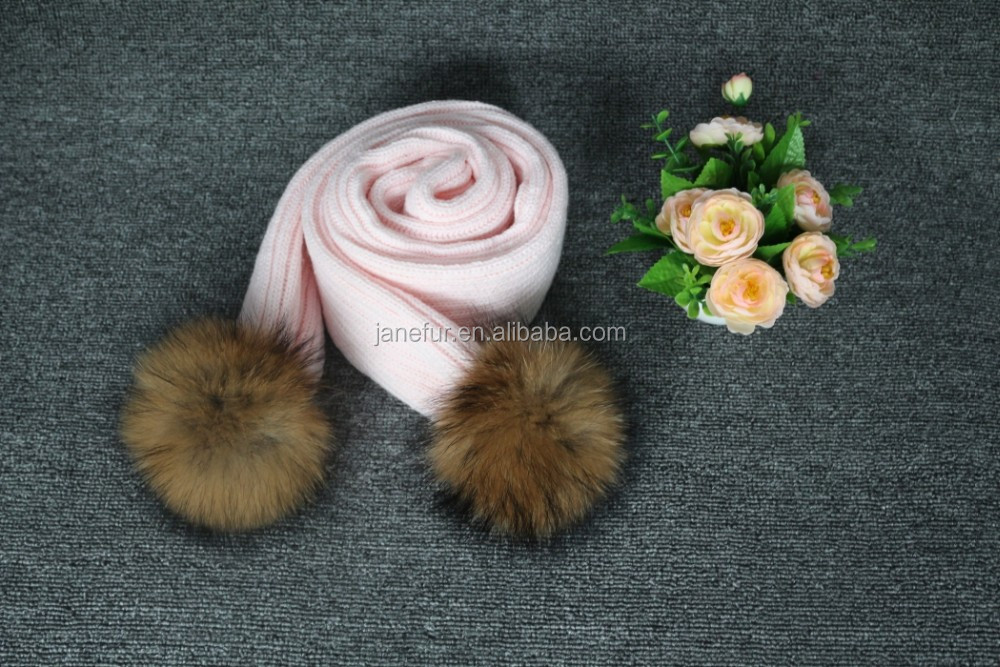 Fashionable Style Winter Scarf Striped Patterns Knitting Scarf With Raccoon Fur Ball