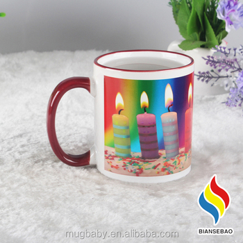 Blank Ceramic Mugs Bulk Happy Birthday Best Gift Canddle Cake Color Changing