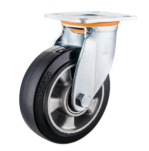 Heavy duty swivel aluminum core soft rubber caster wheel