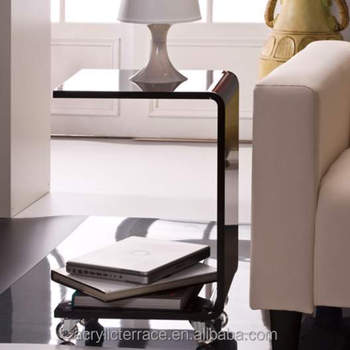 Black Acrylic C Shape Rolling Side Table