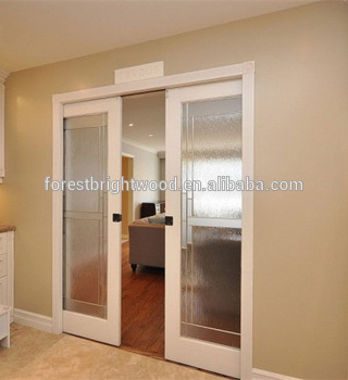 Wood Interior Sliding Frosted Gl Pocket Doors